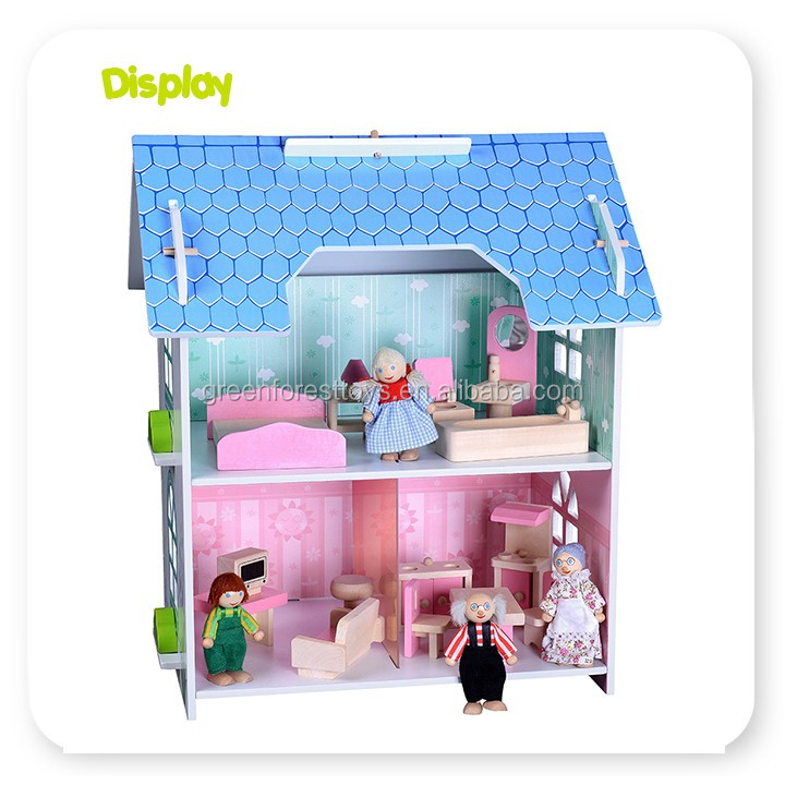 2017 Hot New Product for Children Wooden Doll House Toy