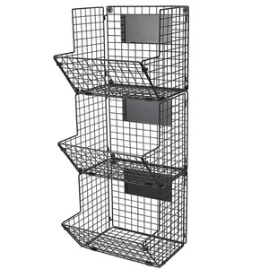 Multipurpose Kitchen Bathroom Wall Mounted Hanging 3-Tier Wire Baskets with Chalkboards