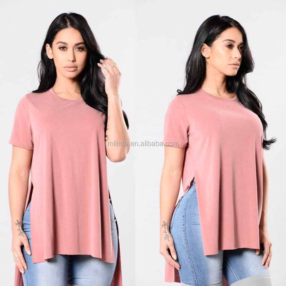 65% Modal 35% Polyester Over Sized Tee Short Sleeve Side Slits Latest Shirts Pattern For Women