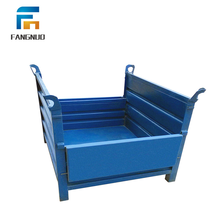 Industrial collapsible storage galvanized steel metal pallet crate