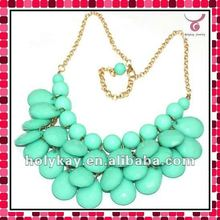 2012 New bubble design acrylic,tear drop layered bib necklace