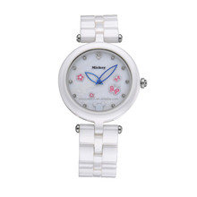 Exquisite Ladies White Ceramic Band Watch Japan Movt Quartz Watch Stainless Steel Back