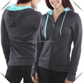 women sports performance polyester spandex fleece gym sweatshirt hoodie custom wholesale with thumb holes