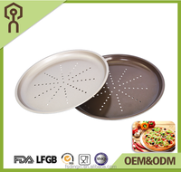 Hot sell Carbon steel non-stick perforated baking pizza pan with hole in round shape