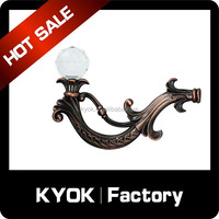 2015 the most fashionable fancy branch curtain hook, crystal ball finial curtain rod tieback