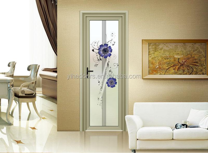 Hot sale fancy aluminum decorated tempered glass entry door bathroom door buy frosted glass Bathroom door design philippines