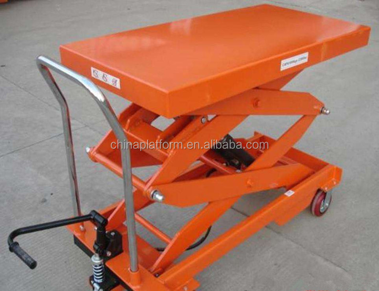 750kg Hydraulic Manual Scissor Lift Trolley/Portable Hydraulic Trolley Lifter