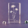 wholesale custome 3d laser engraved Carnation K9 clear crystal block cube