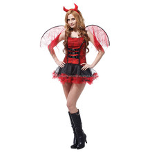 Gift Tower Womens Halloween with Wings Devil Costume Ladies Fancy Dress Demon Angel Outfit