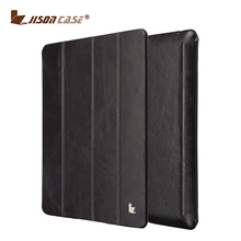 Jisoncase brand genuine leather with stand function smart case for ipad 4 table cover for ipad 4 case wholesale price