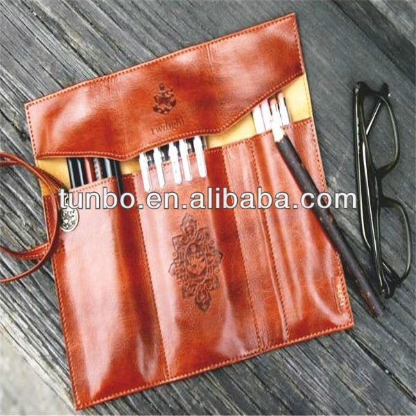 New pencil case stationery case leather roll pen cover