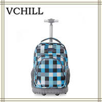 Blue Checke Pattern Printed Trolley Rolling Backpack For Girl