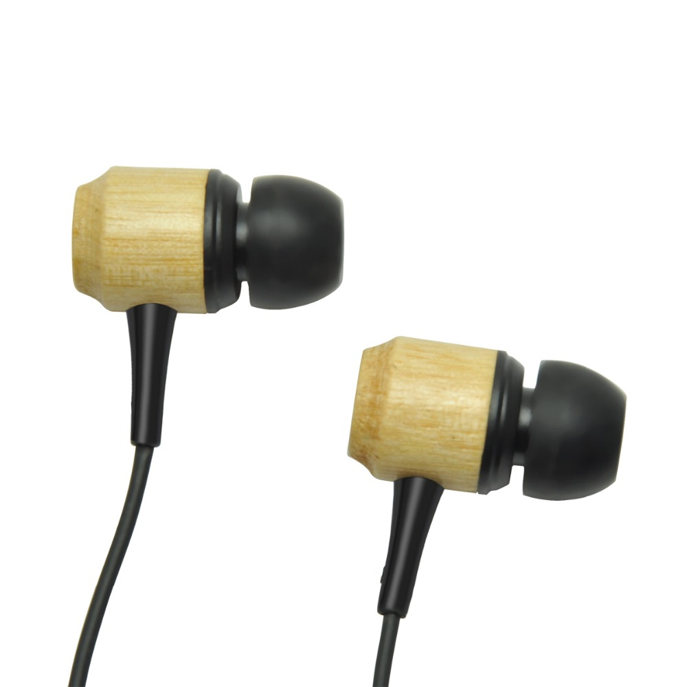 high quality Mini True Stereo Wired in-ear genuine wooden black cherry Earphone with Stereo Voice MIC