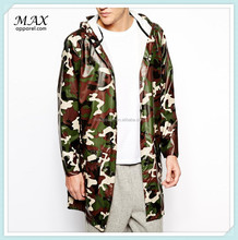 China supplier rains long jacket in camo jacket camouflage pattern water resistant long men's shinny nylon fabric jacket