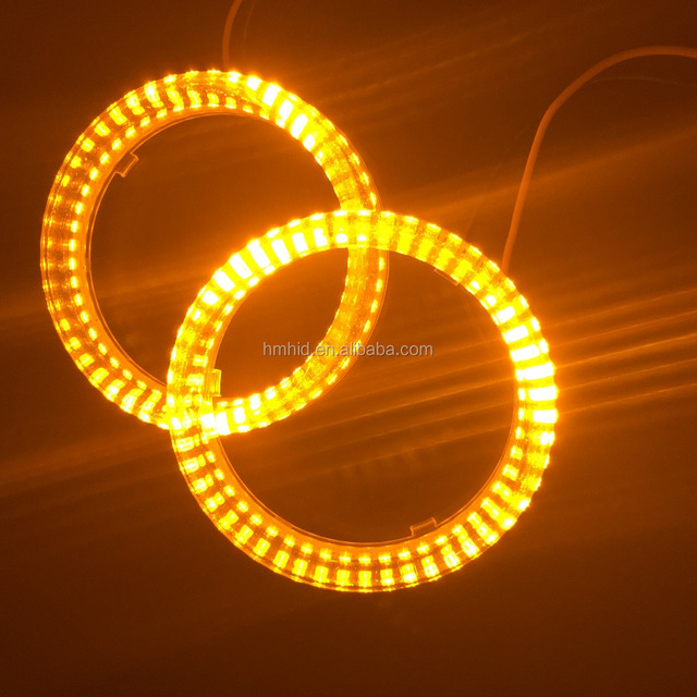 Universal 80mm/95mm 2 colors double colors White + Yellow /Red+ Yellow/Blue+ Yellow LED angel eyes LED halo rings for all cars