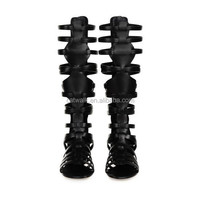 New arrival fashion sexy women boots lace up women black knee boots knee high gladiator boots women sandals