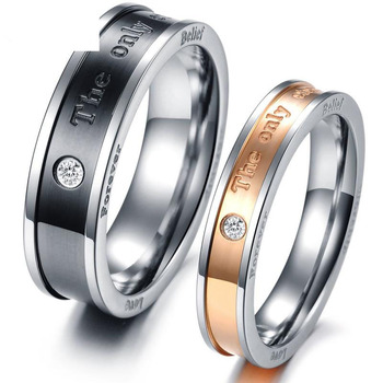 Best Lover`s gift promise Wedding bands The only eternal love 316LTitanium Stainless Steel Love Couple Wedding Rings