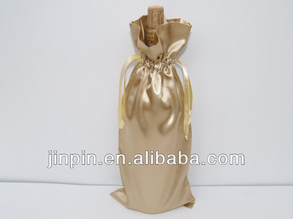 satin fabric wine pouch