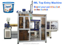 IML injection molding machine 200T 10L paint/coating plastic buckets with metal handle for sale