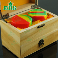 RHS new silicone jars dab wax container with wooden or bamboo gift box, silicone wax container