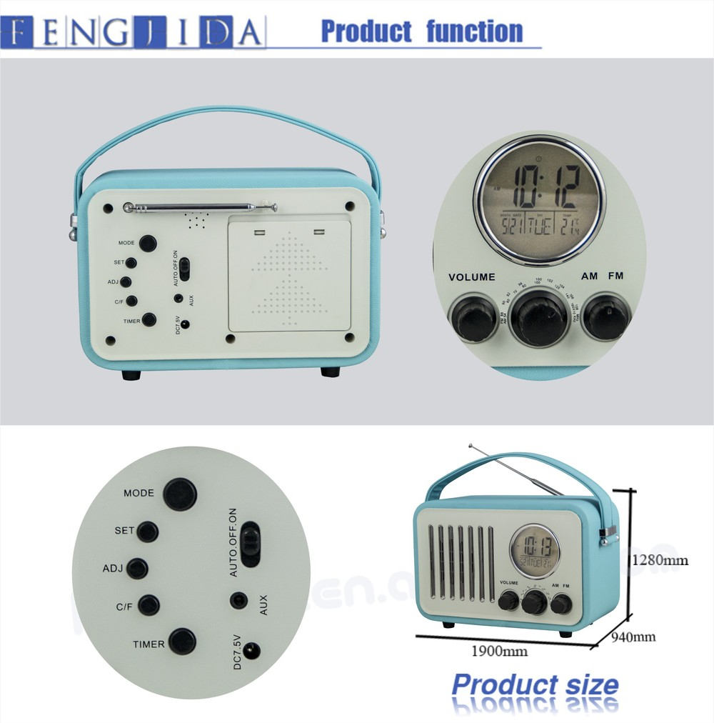 Portable Retro Clock Radio with alarm