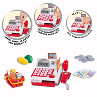 B/O plastic cash register toys with scanner and play money, credit card