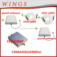 CDMA450MHz signal repeater+power adaptor+outdoor panel antenna with 10m cable+indoor panel antenna with 10m cable