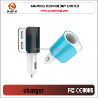 new product hot selling colors 3.1A 3 in 1 car cigarette lighter and dual usb car charger for mobile phone