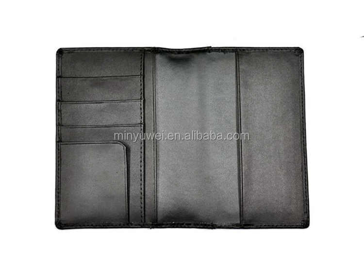 black leather wallet RFID slim twill weave carbon fiber traveler's passport holder