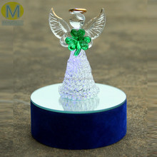 Low price glass angel with LED light base,angel gifts