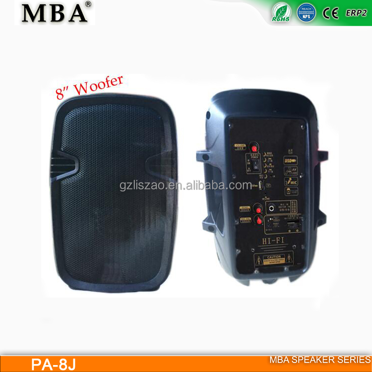 "MBA speaker 8"" PA System trolley speaker with wooden case"