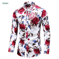 Free sample design custom long sleeve flower printed men dress shirts