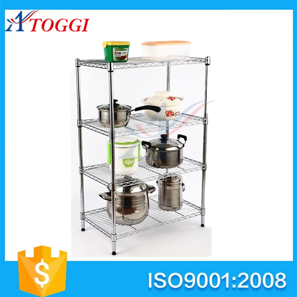 4 layer foldable kitchen chromed wire shelving