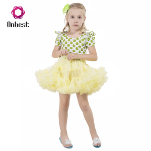 Wholesale cheap girls green dot t-shirt and yellow tulle skirt suit kids party fancy dress costumes