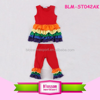 Newest infant plain children clothes rainbow Easter ruffle dress baby outfit printed super ruffle dress match ruffle pants sets
