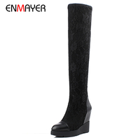 Hot sale top quality cow leather lace material girls fancy comfort elastic overknee wedge boots