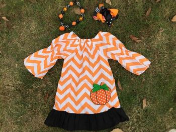 girls pumpkin dress kids boutique dress chervon girls halloween dress set toddler halloween dress set cheap Children Set dresses