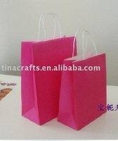 Red recycle kraft paper bag with paper rope handle