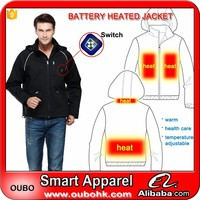 Electric Heated Jackets winter safety rechargeable men thermal jacket with Carbon fiber heating pads battery heated coat OUBOHK