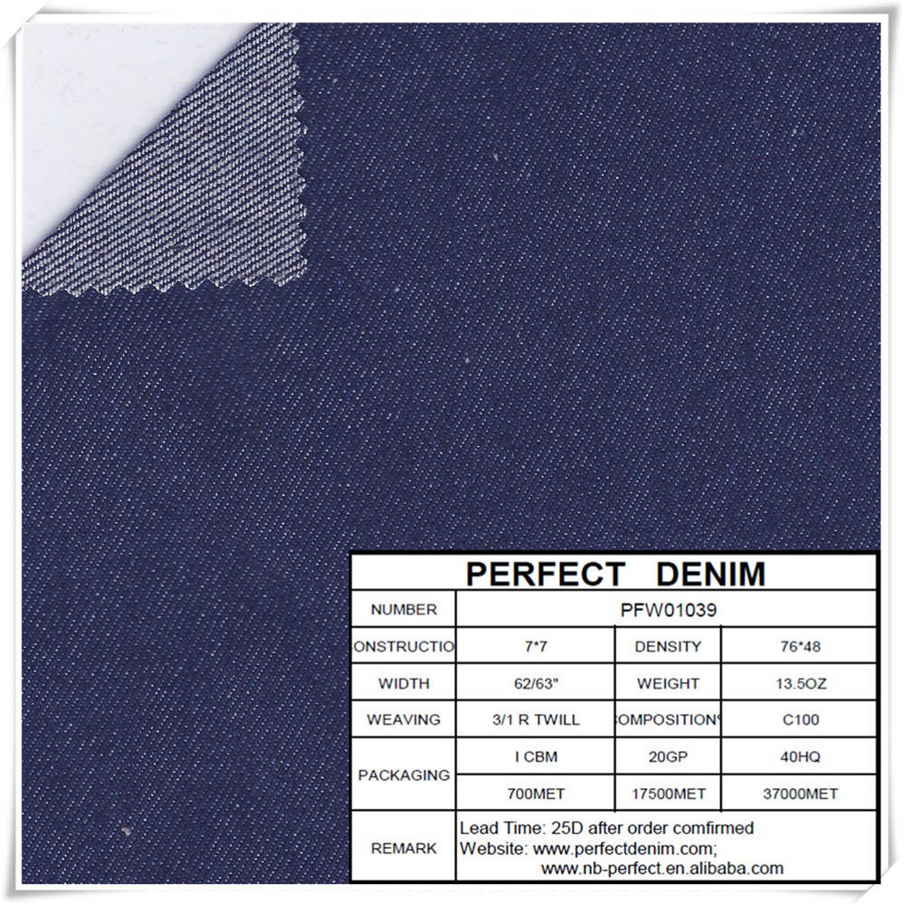stock heavy weight super dark blue color 100 cotton stretch denim fabric for men's jeans