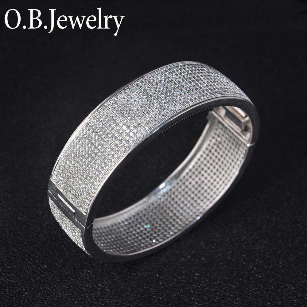 OB Jewelry-Wholesale Custom White Gold Plated Exquisite Solid 925 Silver Bangle