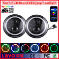 New item 7inch jeep wrangler RGB 45w led lights with halo angel eyes