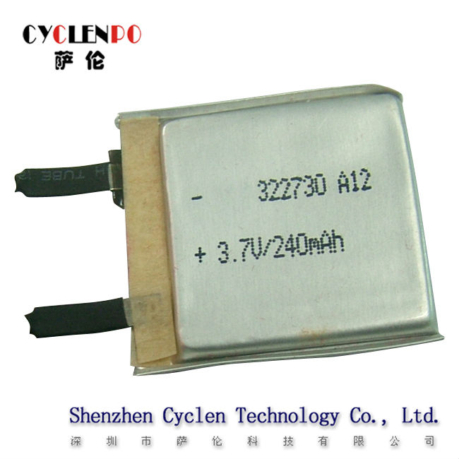 240mAh, 3.7V, LP322730 for bluetooth headset, extremly light.Rechargeable battery, lipo battery, li-polymer battery