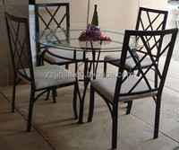 JJ-A0010 1+4 round glass top steel dining hall table and crossing mesh chairs
