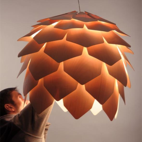 Lustre Design Bois : Lampe design de crim?e pomme de pin moderne lustre en bois-Lustre-ID