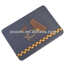 Blue Jeans Denim Folio Leather Tablet Case Cover Stand Magnetic Auto Sleep Wake for SAMSUNG GALAXY TAB 2 10.1 P5100