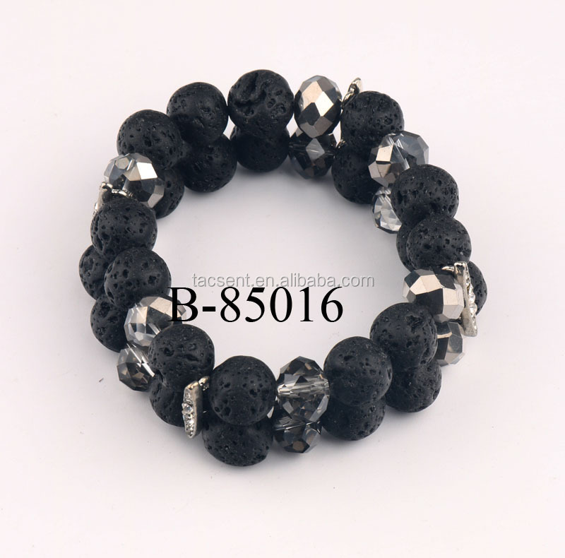 Professional lava products designer, jewelries made of lava rock beads, 2 line 10mm lava rock beads bracelet