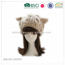 Wholesale Custom Adult Animal Cat Ears Winter Cable Knitted Beanie Hats