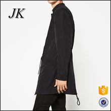 <strong>mens</strong> longline band collar fish tail zipper up button placket fashion trench coat raincoat jacket