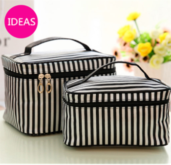 large and small type black and write stripes Printing side zipper Makeup Case Portable Cosmetic Bag women cosmetic package